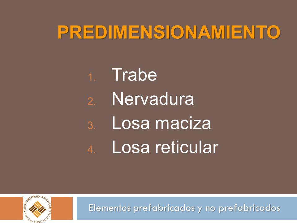 Trabe Nervadura Losa maciza Losa reticular