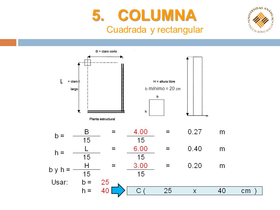 5. COLUMNA Cuadrada y rectangular