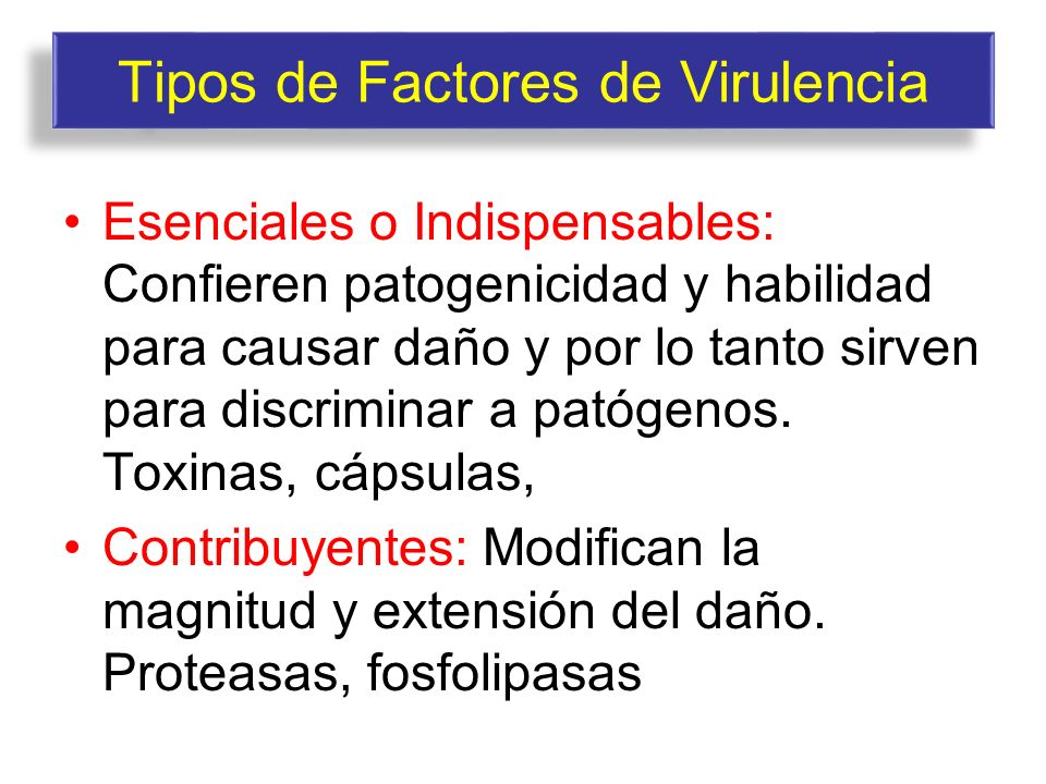 Tipos de Factores de Virulencia
