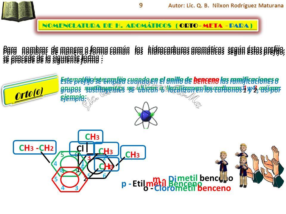 Lic. Q. B. Nilxon RoMa Meta (m) Para (p) Orto (o) CH3 CH3 -CH2 Cl CH3
