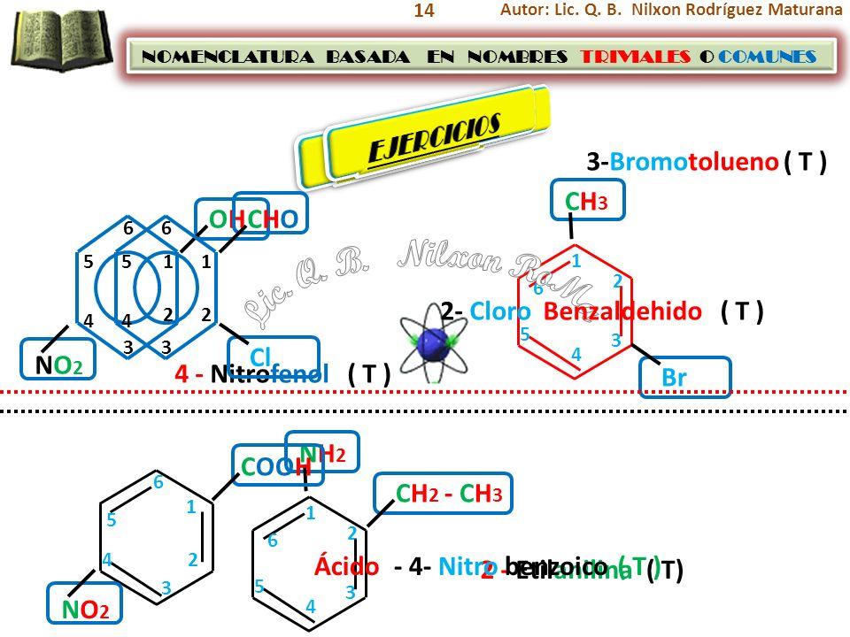Lic. Q. B. Nilxon RoMa EJERCICIOS EJERCICIOS 3-Bromotolueno ( T ) CH3