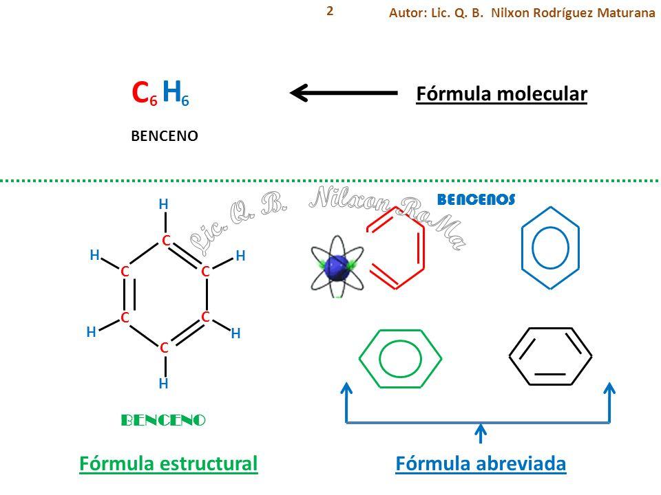 C H Lic. Q. B. Nilxon RoMa Fórmula molecular Fórmula estructural