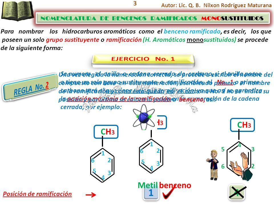 Lic. Q. B. Nilxon RoMa 1 4 EJERCICIO No. 1 REGLA No. 2 REGLA No. 1 CH3