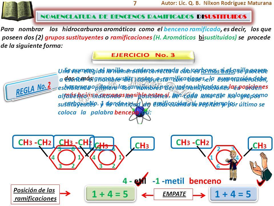 Lic. Q. B. Nilxon RoMa 1 + 4 = 5 1 + 4 = 5 EJERCICIO No. 3 REGLA No. 2