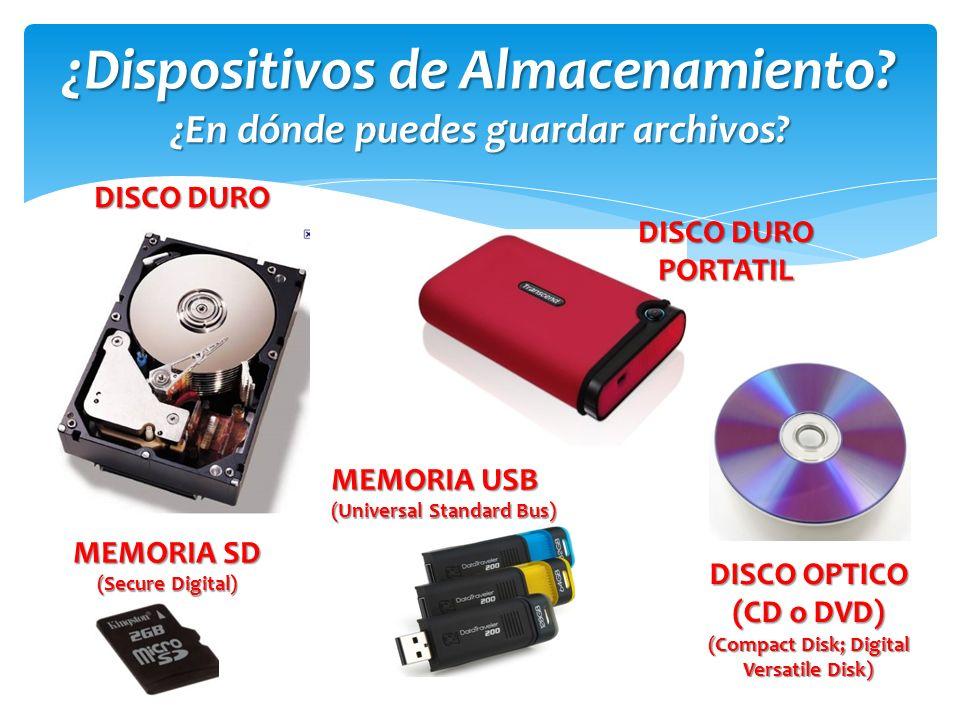 ¿Dispositivos de Almacenamiento ¿En dónde puedes guardar archivos