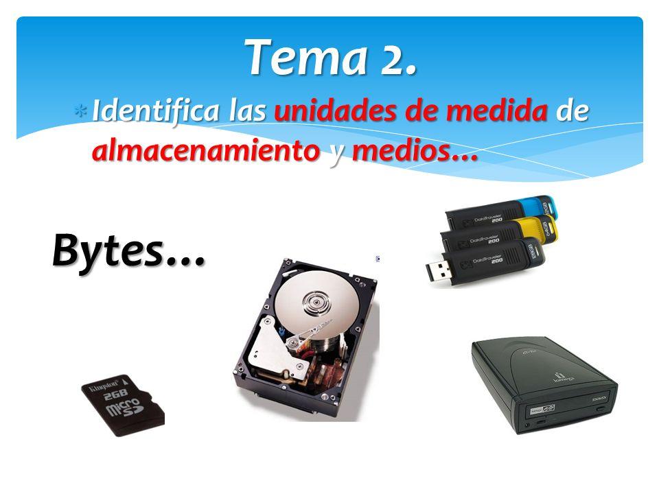 Tema 2. Identifica las unidades de medida de almacenamiento y medios… Bytes…