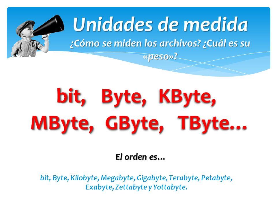 Unidades de medida bit, Byte, KByte, MByte, GByte, TByte…