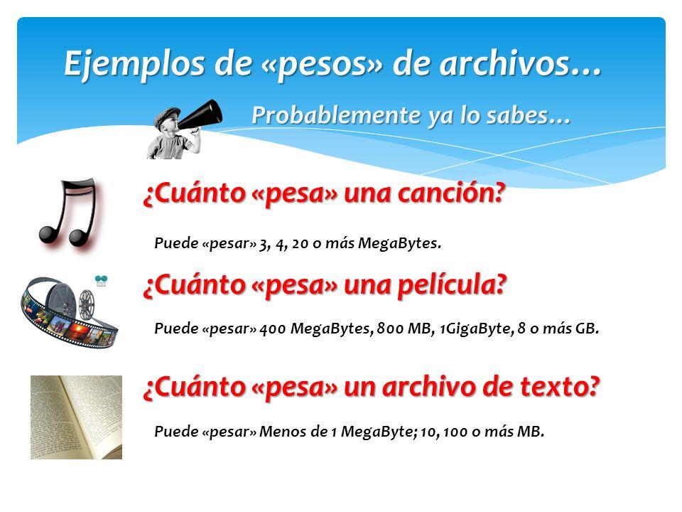 Ejemplos de «pesos» de archivos…