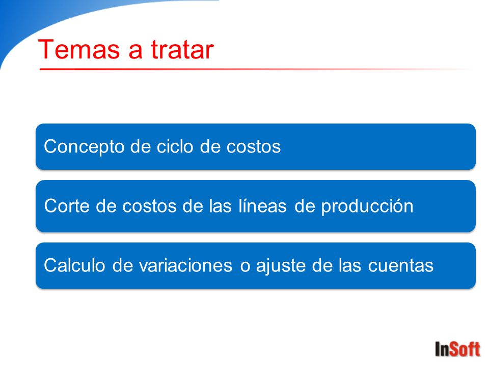 Temas a tratar Concepto de ciclo de costos