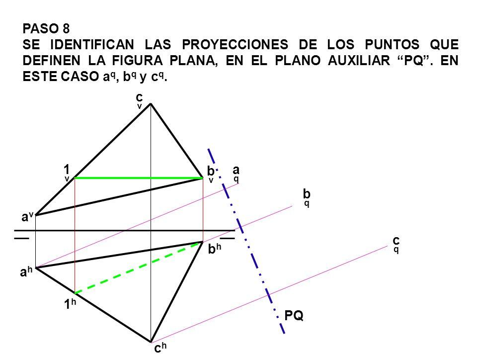 PASO 8 SE IDENTIFICAN LAS PROYECCIONES DE LOS PUNTOS QUE DEFINEN LA FIGURA PLANA, EN EL PLANO AUXILIAR PQ . EN ESTE CASO aq, bq y cq.