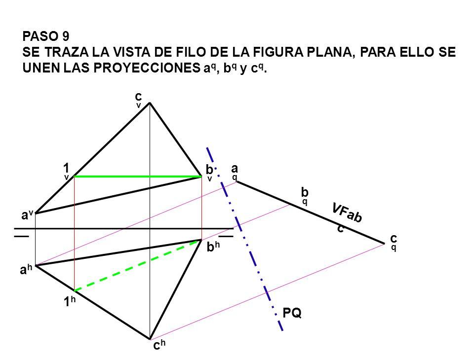 PASO 9 SE TRAZA LA VISTA DE FILO DE LA FIGURA PLANA, PARA ELLO SE UNEN LAS PROYECCIONES aq, bq y cq.