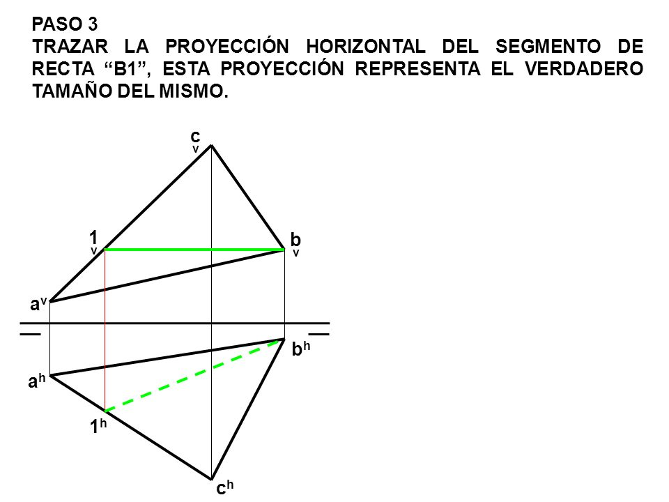 PASO 3 TRAZAR LA PROYECCIÓN HORIZONTAL DEL SEGMENTO DE RECTA B1 , ESTA PROYECCIÓN REPRESENTA EL VERDADERO TAMAÑO DEL MISMO.