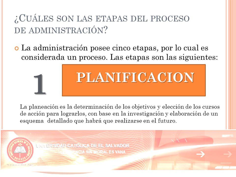 ¿Cuáles son las etapas del proceso de administración