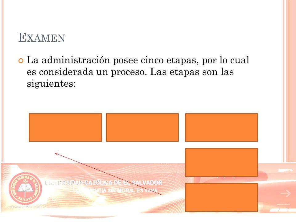 Examen La administración posee cinco etapas, por lo cual es considerada un proceso.
