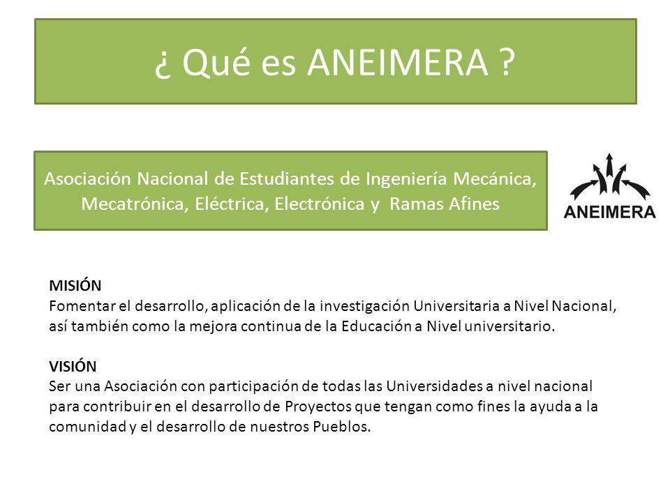 ¿ Qué es ANEIMERA Asociación Nacional de Estudiantes de Ingeniería Mecánica, Mecatrónica, Eléctrica, Electrónica y Ramas Afines.