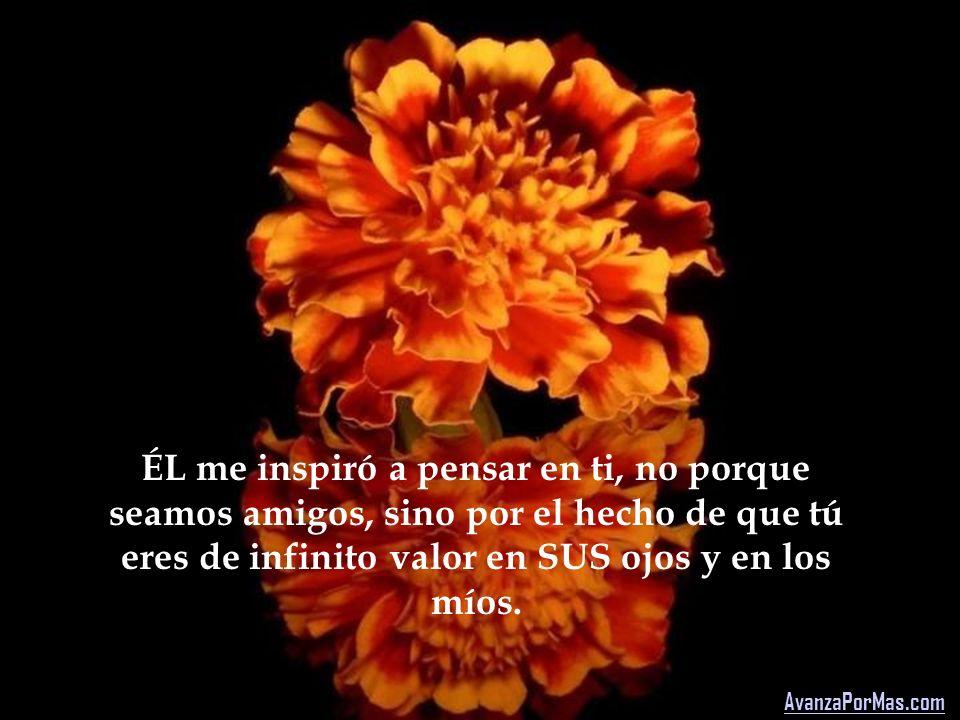 ÉL me inspiró a pensar en ti, no porque seamos amigos, sino por el hecho de que tú eres de infinito valor en SUS ojos y en los míos.