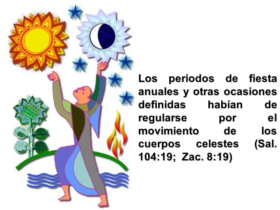 Los periodos de fiesta anuales y otras ocasiones definidas habían de regularse por el movimiento de los cuerpos celestes (Sal. 104:19; Zac. 8:19)