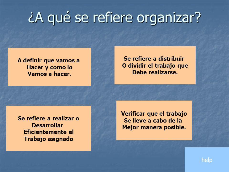 ¿A qué se refiere organizar