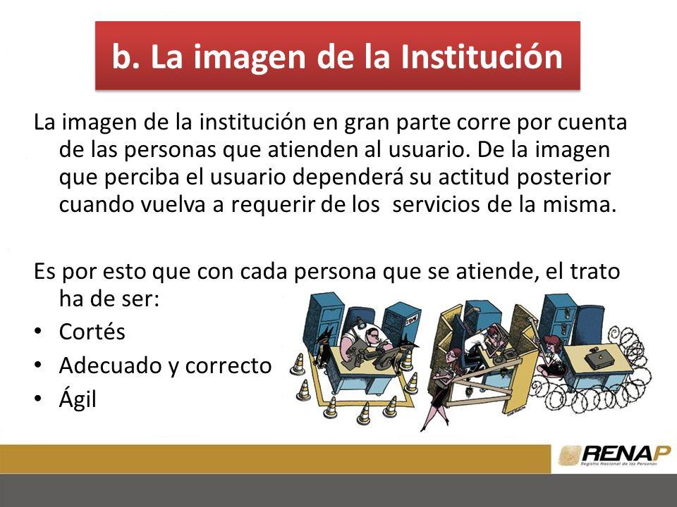 b. La imagen de la Institución