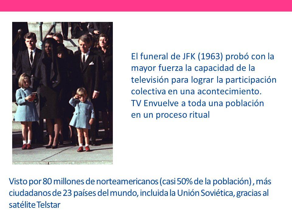 El funeral de JFK (1963) probó con la mayor fuerza la capacidad de la televisión para lograr la participación colectiva en una acontecimiento. TV Envuelve a toda una población en un proceso ritual