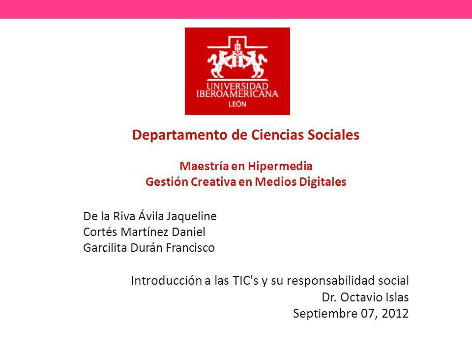 Departamento de Ciencias Sociales Maestría en Hipermedia