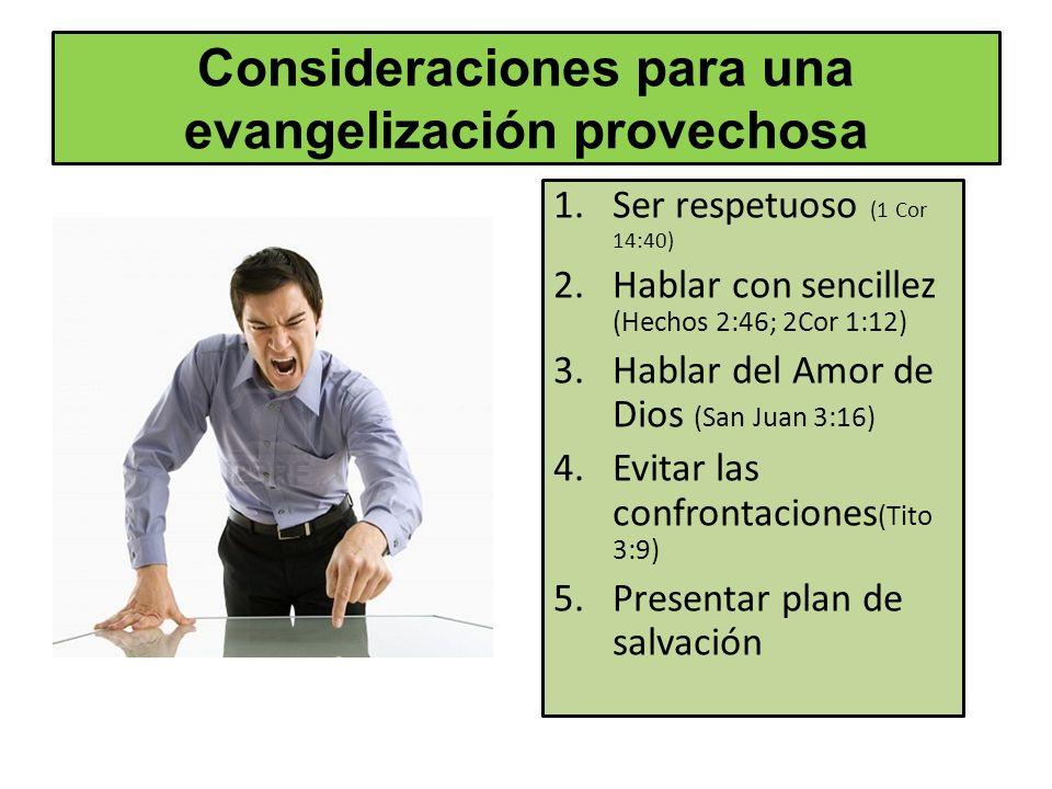 Consideraciones para una evangelización provechosa