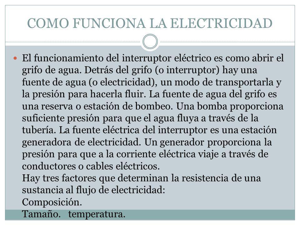 COMO FUNCIONA LA ELECTRICIDAD