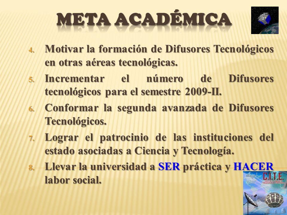 Meta académica Motivar la formación de Difusores Tecnológicos en otras aéreas tecnológicas.