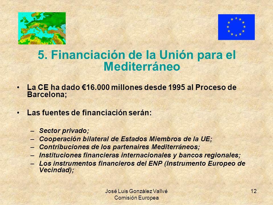 5. Financiación de la Unión para el Mediterráneo