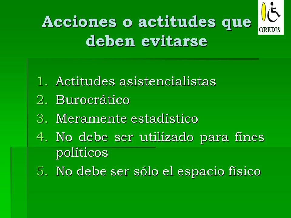 Acciones o actitudes que deben evitarse