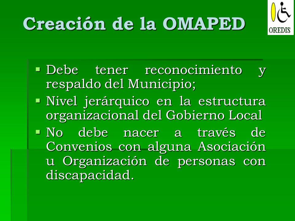 Creación de la OMAPED Debe tener reconocimiento y respaldo del Municipio; Nivel jerárquico en la estructura organizacional del Gobierno Local.
