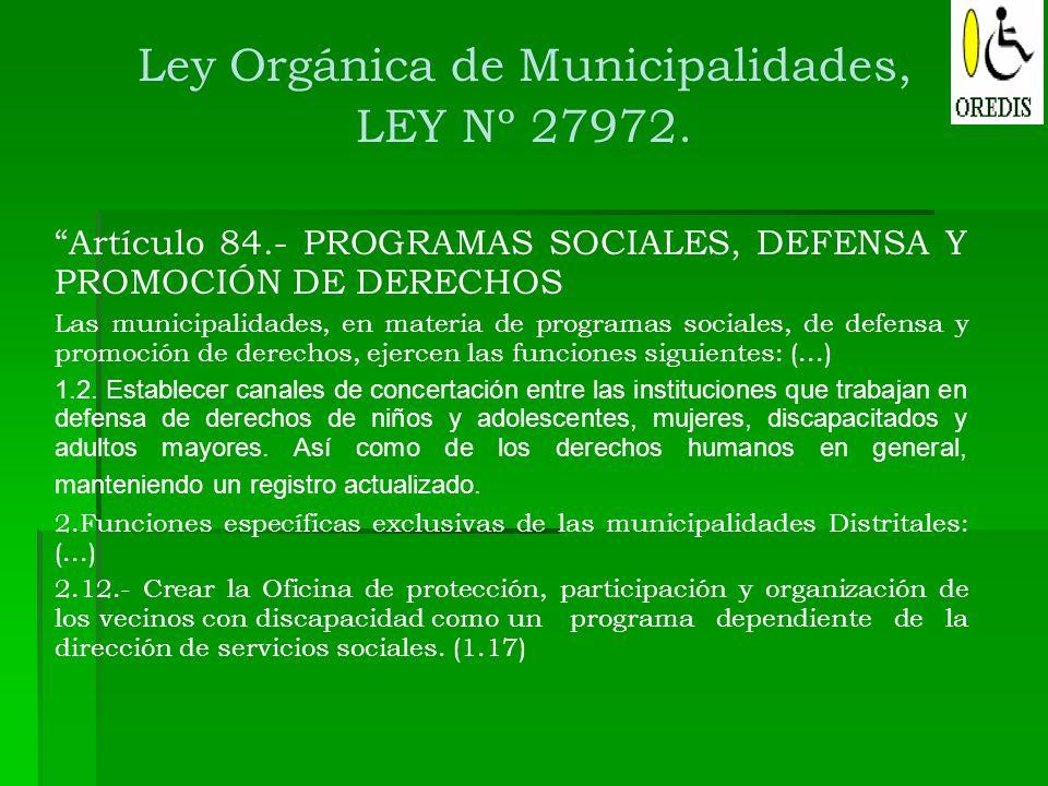 Ley Orgánica de Municipalidades,