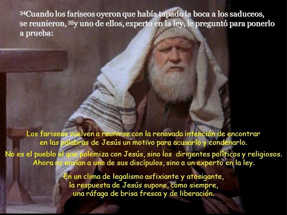 34Cuando los fariseos oyeron que había tapado la boca a los saduceos, se reunieron, 35y uno de ellos, experto en la ley, le preguntó para ponerlo a prueba: