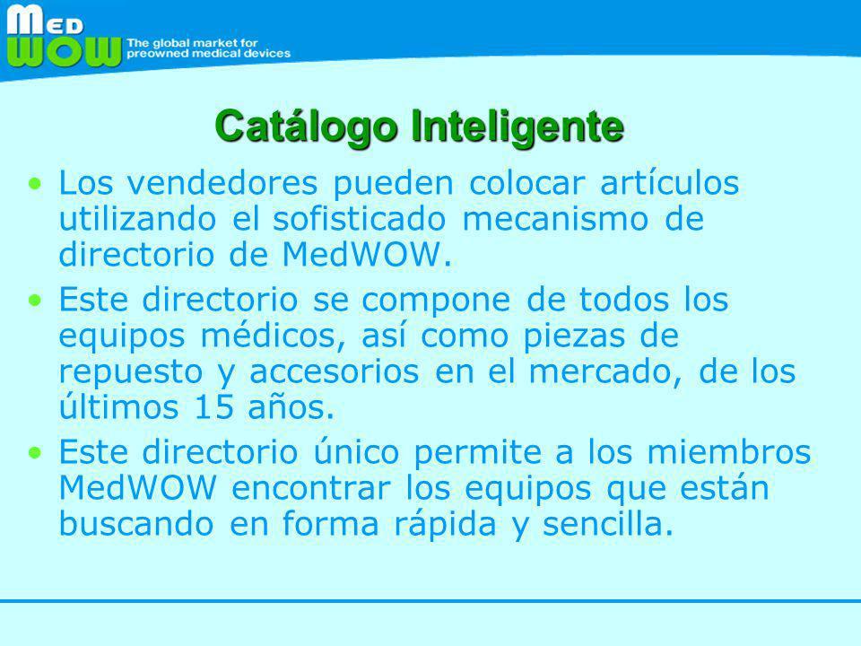 Catálogo Inteligente Los vendedores pueden colocar artículos utilizando el sofisticado mecanismo de directorio de MedWOW.