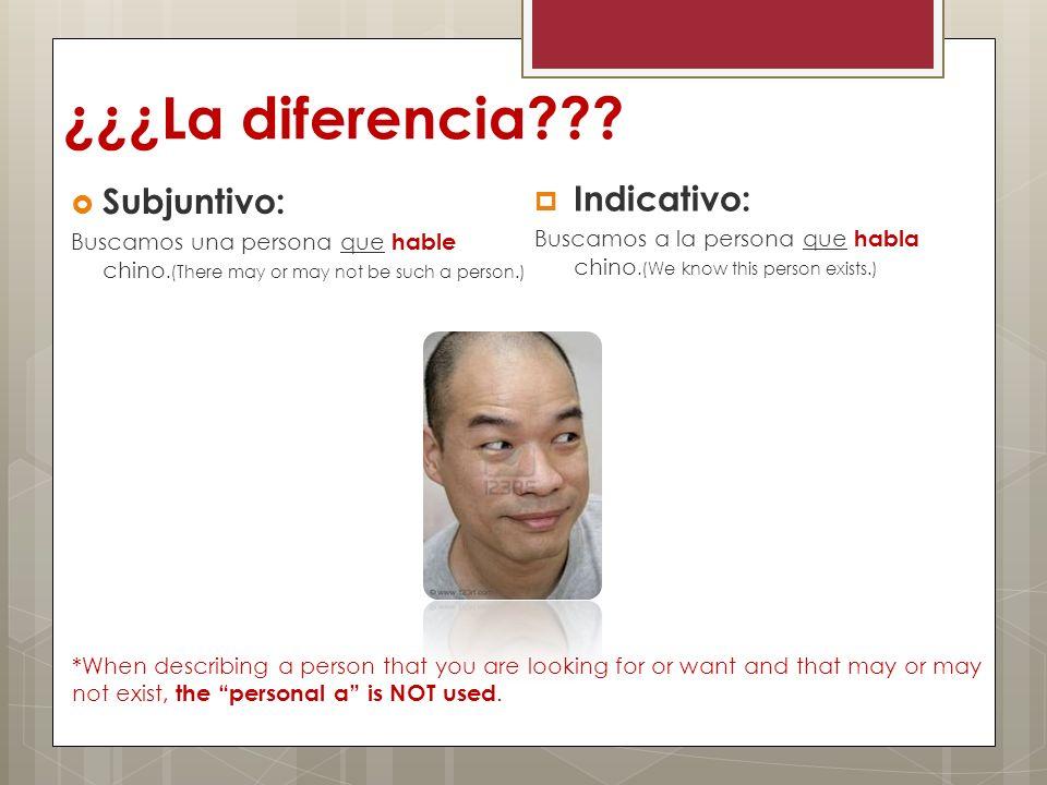 ¿¿¿La diferencia Subjuntivo: Indicativo: