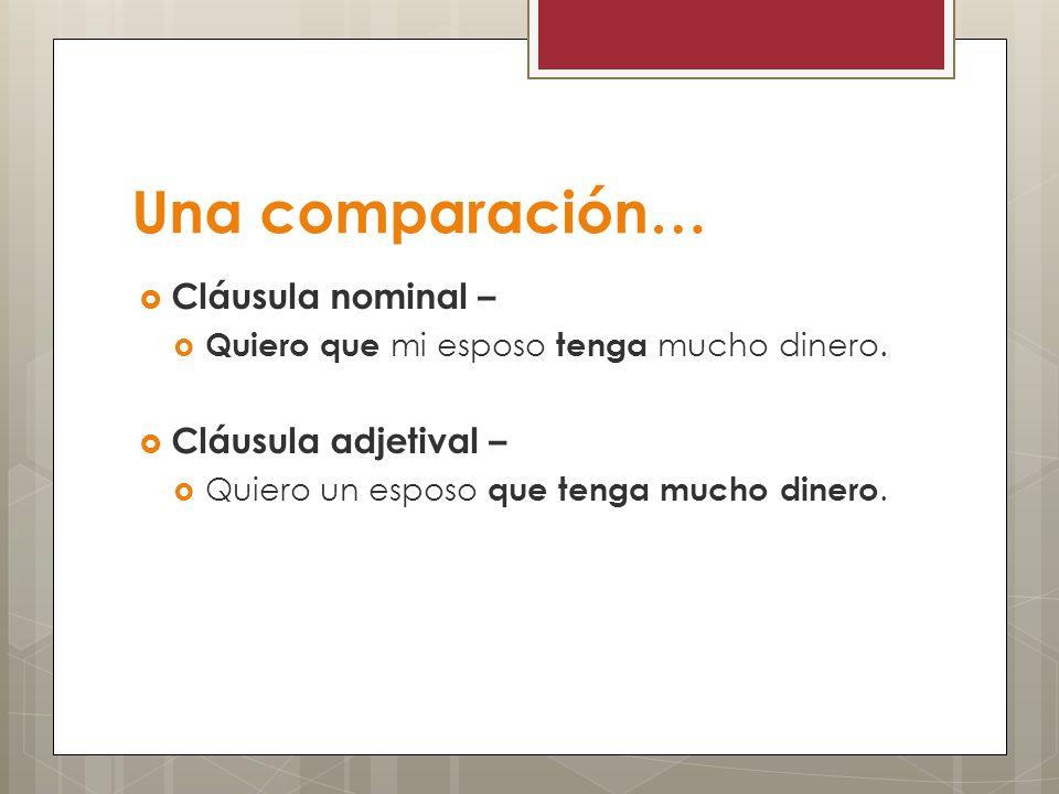 Una comparación… Cláusula nominal – Cláusula adjetival –