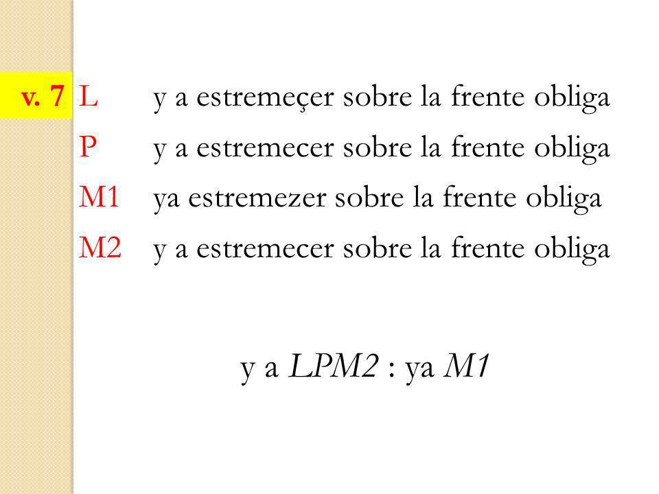 y a LPM2 : ya M1 v. 7 L y a estremeçer sobre la frente obliga