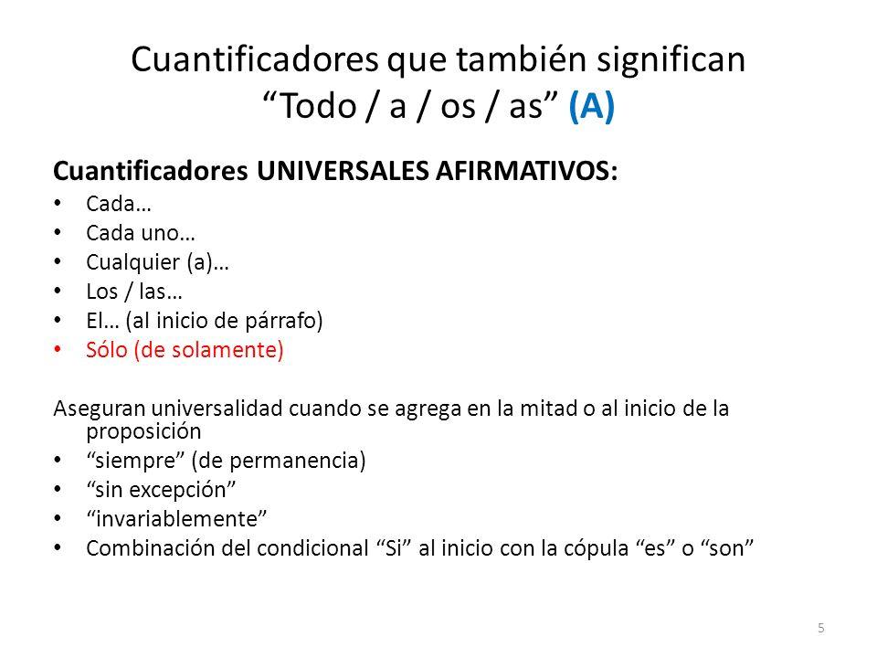 Cuantificadores que también significan Todo / a / os / as (A)