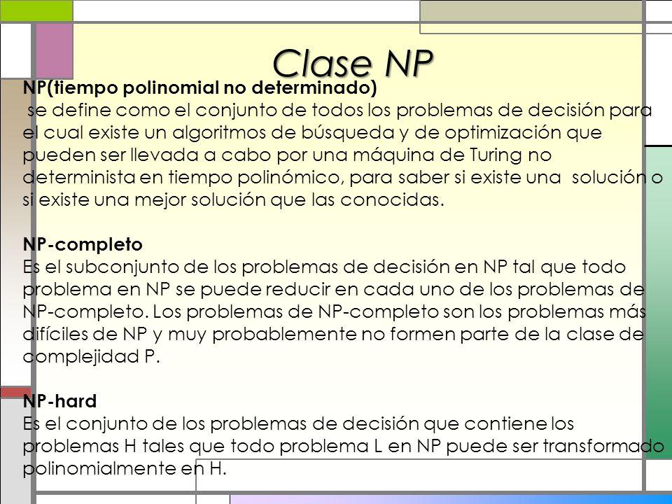 Clase NP NP(tiempo polinomial no determinado)