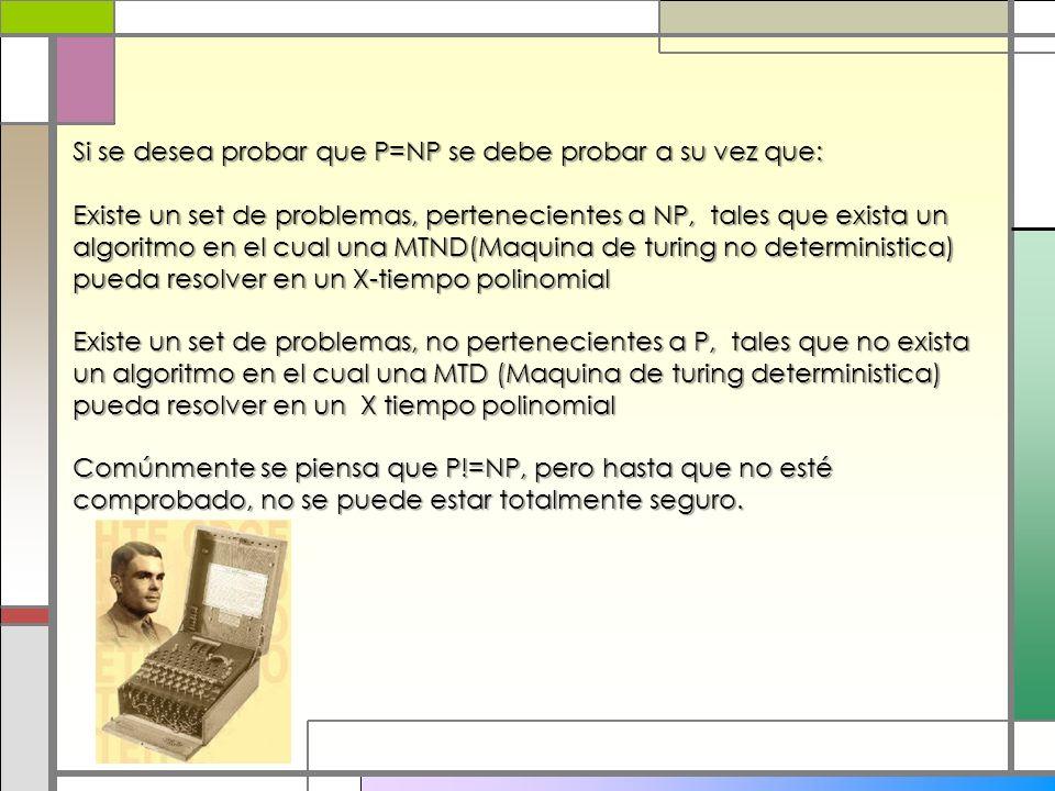 Si se desea probar que P=NP se debe probar a su vez que: