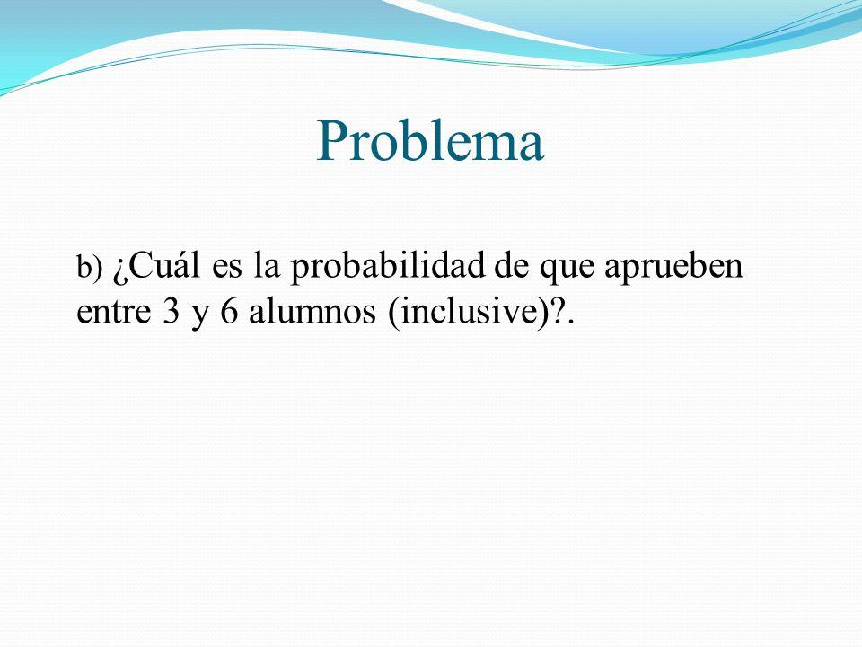 Problema b) ¿Cuál es la probabilidad de que aprueben entre 3 y 6 alumnos (inclusive) .