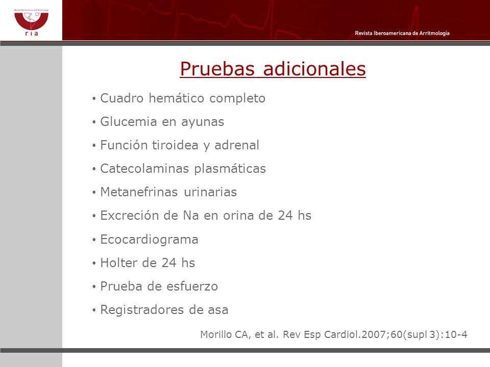 Pruebas adicionales Cuadro hemático completo Glucemia en ayunas