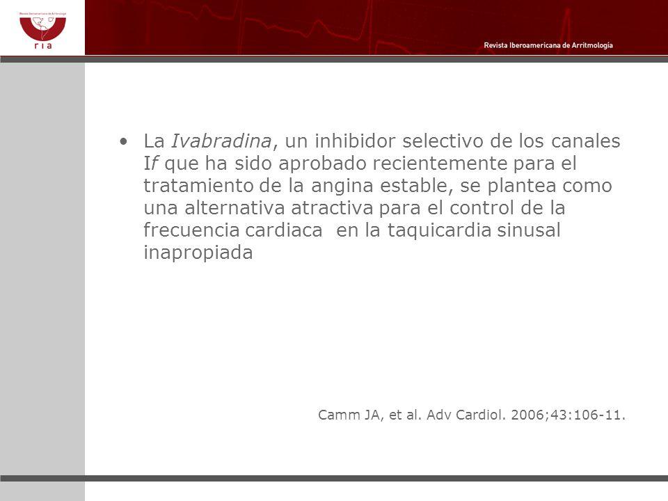 La Ivabradina, un inhibidor selectivo de los canales If que ha sido aprobado recientemente para el tratamiento de la angina estable, se plantea como una alternativa atractiva para el control de la frecuencia cardiaca en la taquicardia sinusal inapropiada