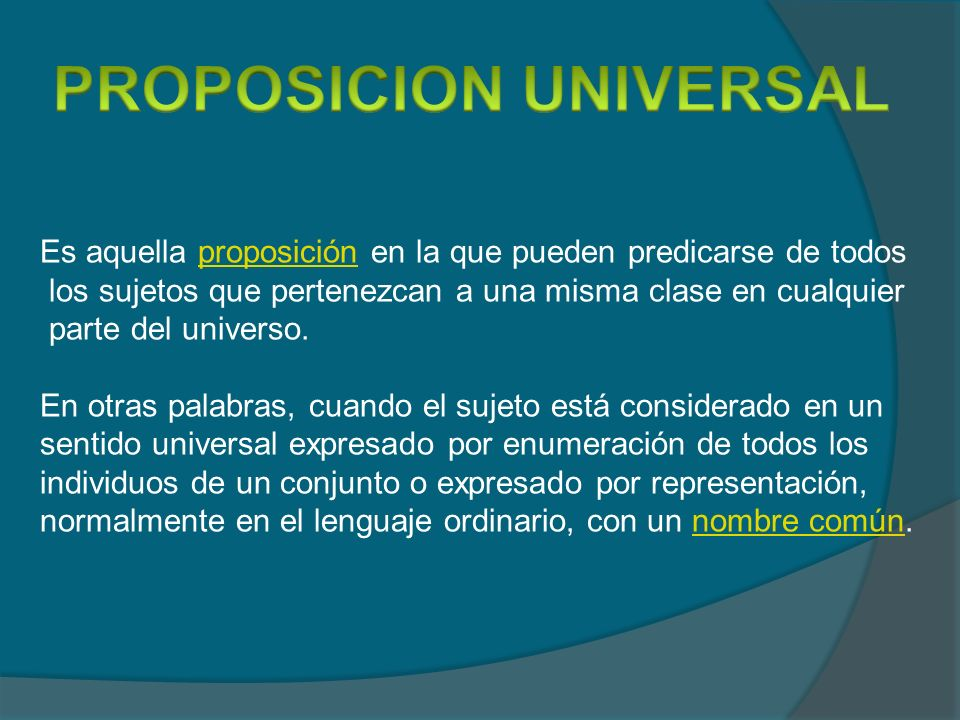 PROPOSICION UNIVERSAL