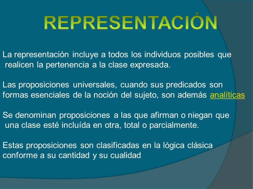 REPRESENTACIÓN La representación incluye a todos los individuos posibles que. realicen la pertenencia a la clase expresada.