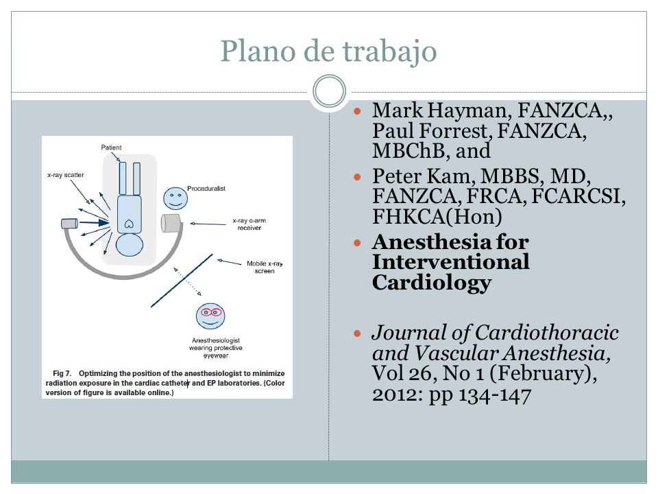 Plano de trabajo Mark Hayman, FANZCA,, Paul Forrest, FANZCA, MBChB, and. Peter Kam, MBBS, MD, FANZCA, FRCA, FCARCSI, FHKCA(Hon)