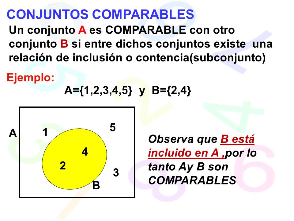 CONJUNTOS COMPARABLES