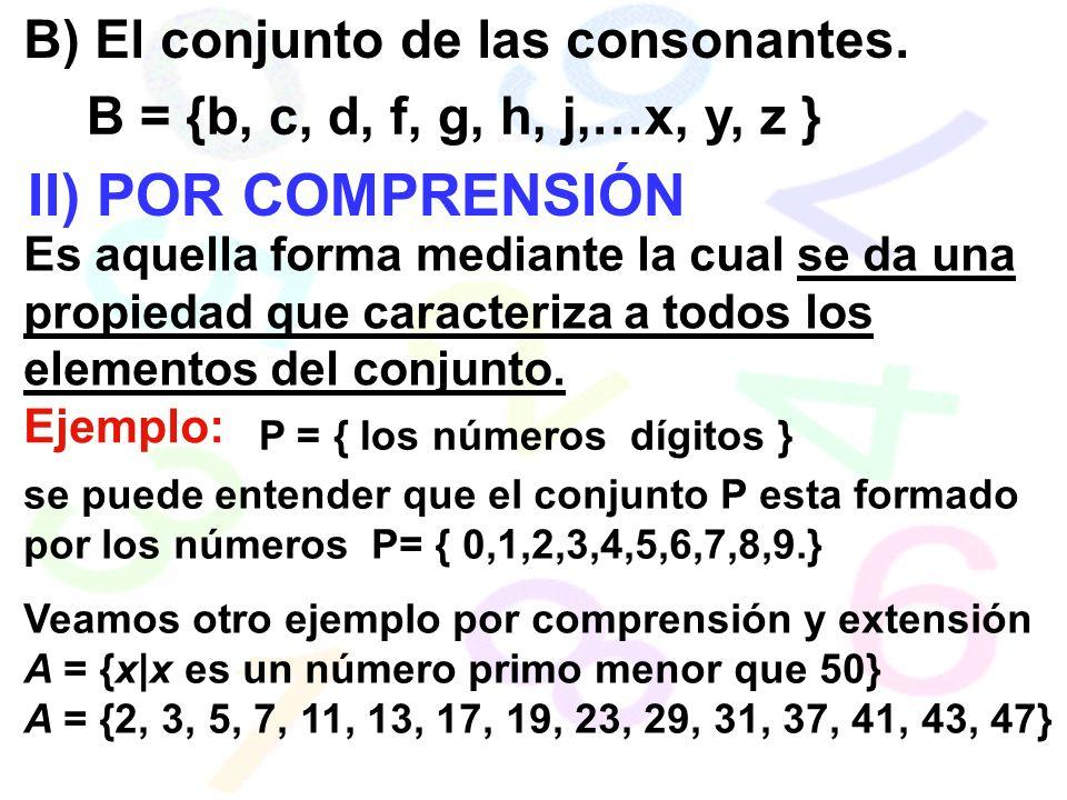 II) POR COMPRENSIÓN B) El conjunto de las consonantes.