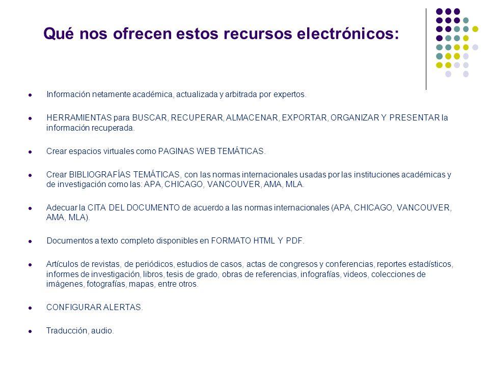 Qué nos ofrecen estos recursos electrónicos: