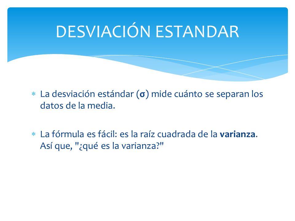 DESVIACIÓN ESTANDARLa desviación estándar (σ) mide cuánto se separan los datos de la media.